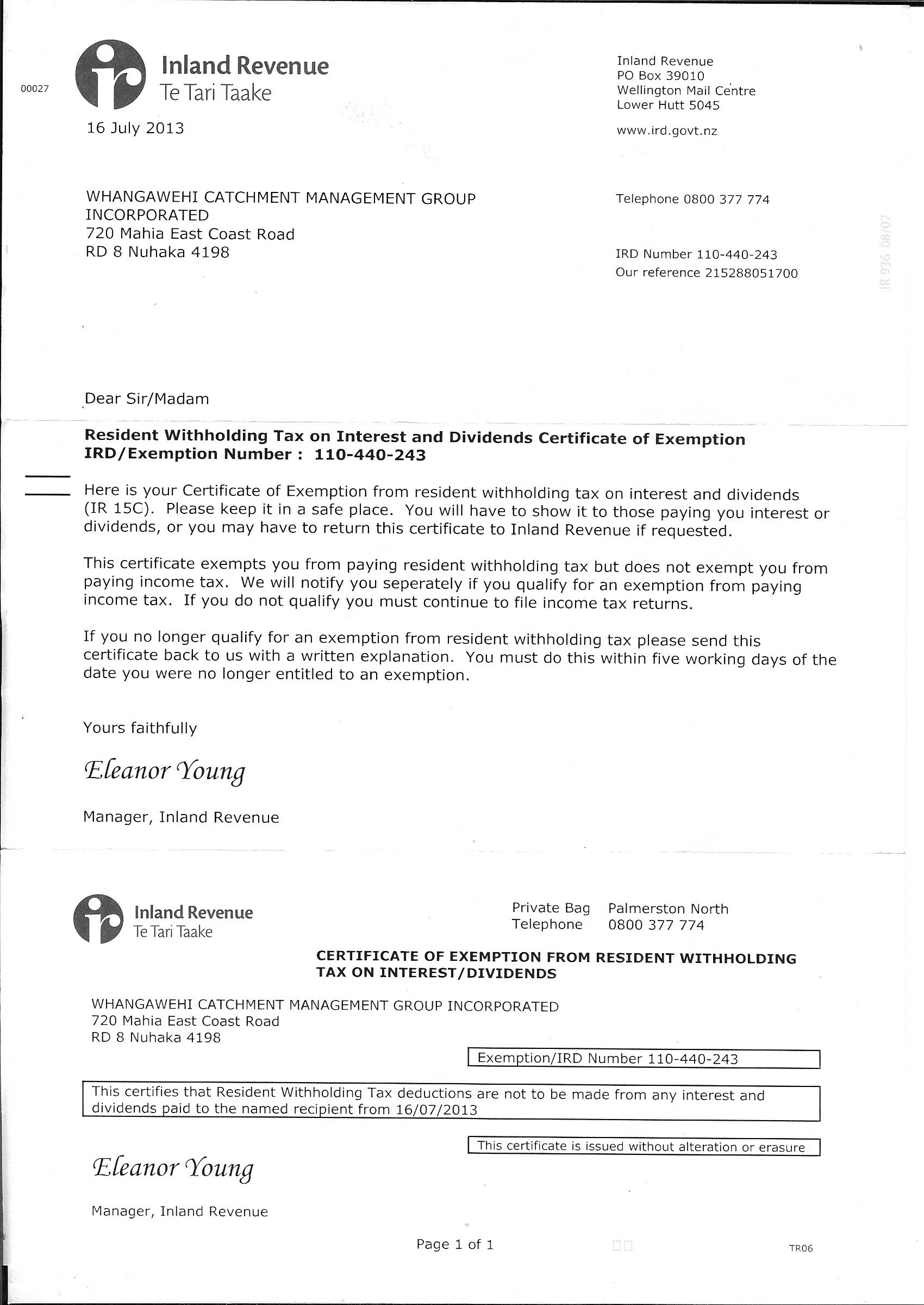 Legal documents whangawehi catchment management group certificate of exemption 1betcityfo Images