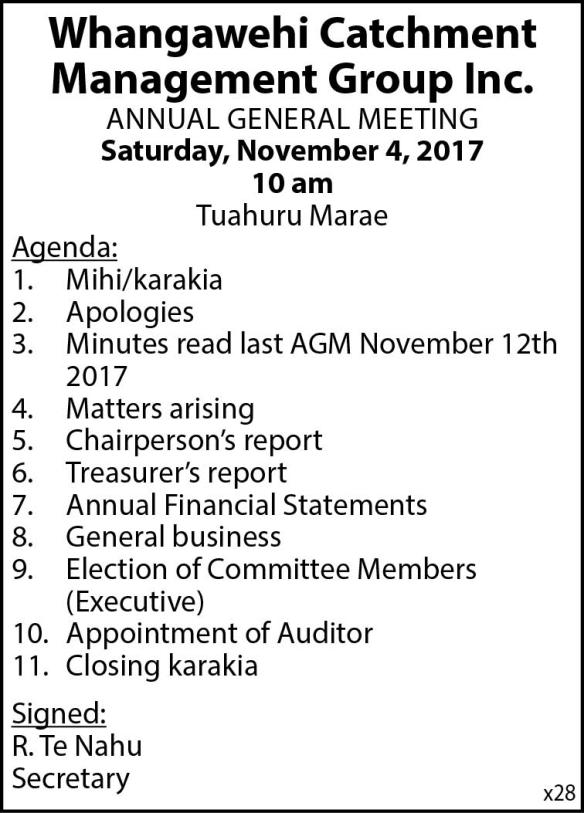 Whangawehi Catchment Management Group Inc AGM